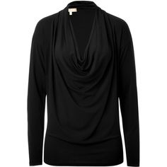 MICHAEL KORS Black Cowl Neck Top ($620) ❤ liked on Polyvore