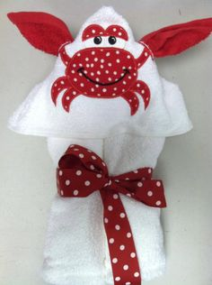 Crab Embroidered Hooded Towel with removable washcloth