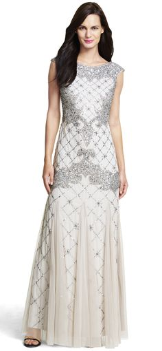 fully beaded sleeveless godet gown by ADRIANNA PAPELL