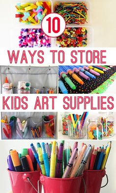 10 great storage ideas for organising kid's art and craft materials.