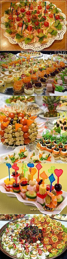 In total for a buffet reception! (popular recipes of a canape) // Маргарита Маланчук Snacks Für Party, Appetizers For Party, Appetizer Recipes, Party Dishes, Food Displays, Food Decoration, Food Platters, Buffets, Appetisers