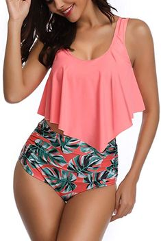 Swimsuits for Women Swimwear High Waisted Bathing Suit Flounce Bikini Sets Print Tankinis - Pink Top+green Leaves Print Bottom Large Bathing Suits For Teens, Retro Bathing Suits, Summer Bathing Suits, Swimsuits For Teens, Cute Swimsuits, Women Swimsuits, Vintage Swimsuits, Flounce Bikini, Fashion Clothes