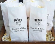 Engagement Party Favor Bags, Popcorn Buffet, He Popped The Question - Grease Res. Engagement Party Favor Bags, Popcorn Buffet, He Popped The Question – Grease Resistant – Custo Engagement Party Planning, Engagement Party Favors, Engagement Party Decorations, Engagement Parties, Engagement Ideas, Engagement Celebration, Wedding Engagement, Wedding Planning, Wedding Favor Bags