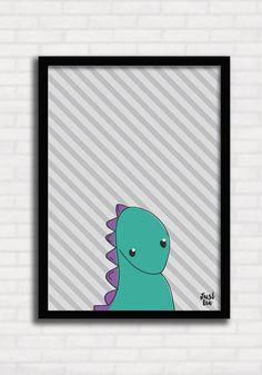 Poster/Quadro para Crianças - Dinossauros Listras 2 - Just Lia