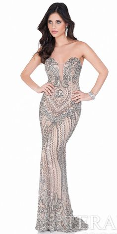 Illusion Sweetheart Beaded Evening Gown by Terani Couture #edressme