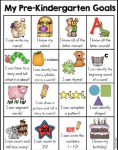 Pre-Kindergarten Goals Sheet This preschool skill goal sheet is a one page sheet of typical skills that a preschooler may learn. It is a fun and very visual way for the kids to see what skills they have mastered and document the child's learning. Kindergarten Goal Sheet, Alphabet Kindergarten, Portfolio Kindergarten, Kindergarten Readiness, Starting Kindergarten, Preschool Assessment, Preschool Prep, Preschool At Home, Preschool Lessons