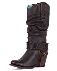 Corral Boots - Women's Black Python Europa Slouch Boot: Mainstream with a cowgirl touch. This women's boot features a black leather foot with a round toe. The slouch shaft has a python strap around the ankle with fringe accents. Tall heel and leather sole gives you that cowgirl strut.