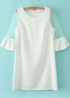 White Contrast Sheer Mesh Yoke Half Sleeve Dress pictures