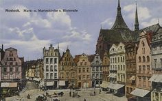 Rostock Neuer Mark Blutstrasse Marienkirche north side (left) in 1900 / The Neuer Markt was surrounded on all sides until its destruction in 1942 by magnificent gabled houses from four centuries.