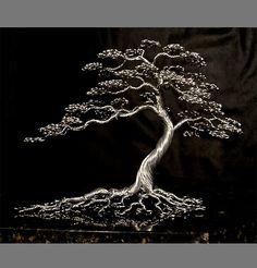 This is a gold wire bonsai tree sculpture by Ken To in the weeping style. Gold weeping willow wire bonsai tree by Ken To Wire Tree Sculpture, Modern Sculpture, Wire Sculptures, Wire Crafts, Metal Crafts, Ming Tree, Bonsai Wire, Wire Trees, Metal Tree