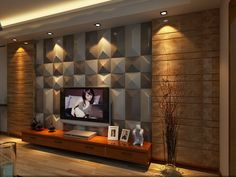 Haining Green Import And Export Co. Leather Wall Panels, Wooden Wall Panels, 3d Wall Panels, Wooden Wall Design, Tv Wall Design, Wall Unit Designs, Living Room Tv Unit Designs, Wall Unit Decor, Tv Unit Interior Design
