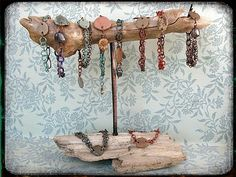 Salvaged Driftwood and Reclaimed Copper Jewelry Displays!