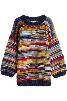 A rainbow of colors and a chunky texture that guarantees warmth and comfort, this oversized pullover from Paul & Joe is crafted from wool for the most indulgent finish. Knitting Yarn, Hand Knitting, Knitting Patterns, Knit Fashion, Sweater Fashion, Style Fashion, Oversized Pullover, Wool Sweaters, Knitting Sweaters