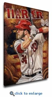 353acca0b49 Bryce Harper Art Reproduction on Canvas by Justyn Farano - Nationals