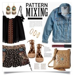 """Pattern Mixing"" by judysingley-polyvore ❤ liked on Polyvore featuring Design Lab, Lucky Brand, M&F Western, Aquazzura, H&M, patternmixing and plus size clothing"