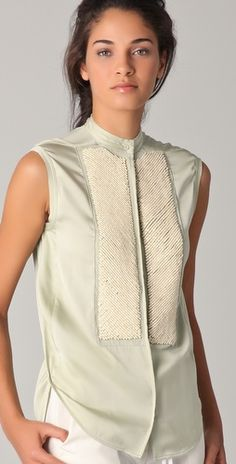 Phillip Lim - Tuxedo Shirt w/ Chevron Beading @thetuxedoshirt #inspiration #women #fashion