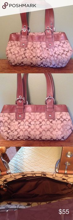 """Coach print satchel purse Great condition!  Very clean. Coach print purse has interior pockets. It is apx. 17"""" wide. Handle is 10"""" long. Coach Bags Satchels"""