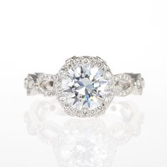 """Brides.com: Round-Cut Engagement Rings Platinum and diamond """"Annalise"""" engagement ring,  $13,000 (center stone not included),  Erica Courtney  See more Erica Courtney rings.Photo: Courtesy of Erica Courtney"""