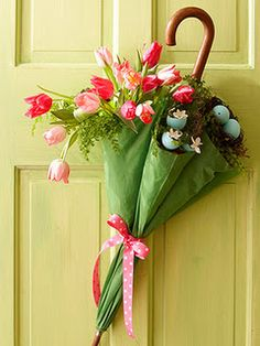 Spring Wreath - Okay, THIS is beyond cute. THIS inspires me, I am on an umbrella hunt now, I have a couple months to pull this together!