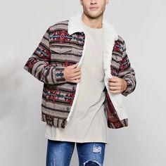 Men's Fashion Printed Color Single-breasted Splicing Plush Jacket – okrobe Unique Fashion, Men's Fashion, Order Checks, Collar Designs, Print Jacket, Fashion Prints, Single Breasted, Sleeve Styles, Plush