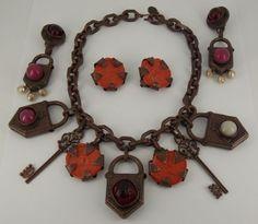 Vintage-Philippe-Ferrandis-Paris-Necklace-2-Earring-Pairs-Set