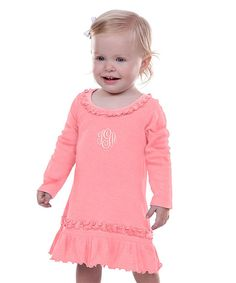 Look at this Flamingo Monogram Babydoll Dress - Infant on #zulily today!