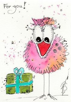 Farbenfrohe Malereien im Mixmedia Stil und shabby look hier in der Galerie, Bird Drawings, Doodle Drawings, Cute Drawings, Happy Paintings, Colorful Paintings, Watercolor Bird, Watercolor Paintings, Doodle Art, Painting Workshop