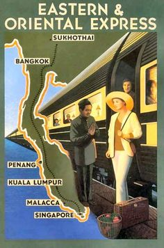 Eastern Orient Express Postcard, I love travel postcards of this era!