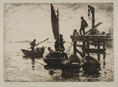 """""""Boats at Dawn"""" by Frank Weston Benson. 1920 etching, print on paper. From the collection of The Philadelphia (PA) Museum of Art, on loan (2015) to The Harn Museum of Art, Gainesville, FL, as part of the Monet & American Impressionism Exhibition."""
