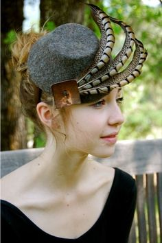 heather brown felt fascinator with fethers by FINKAMENDOCINO #millinery #hats #HatAcademy