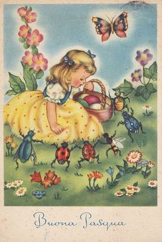 Buona Pasqua - Little Girl Talking To Insects - Anthropomorphic - Ladybird Vintage Valentine Cards, Vintage Greeting Cards, Vintage Postcards, Vintage Birthday, Vintage Easter, Photo Vintage, Vintage Images, Christmas Art, Vintage Christmas