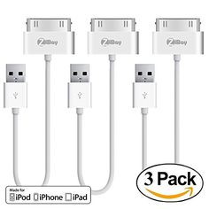 iPhone 4s Short Cable, 3-Pack ZiBay 30-Pin USB Sync and Charging Data Cable for iPhone 4/4S, iPhone 3G/3GS, iPad 1/2/3, and iPod (7 INCH) (3-PACK)