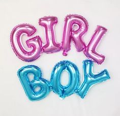 GIRL Balloon or BOY Balloon - Pink Girl or Blue Boy Balloons Letter Balloon Party Ballon ( New Baby Birthday Party Decor Balloon Supplies ) by Drawcord18 on Etsy https://www.etsy.com/listing/458750198/girl-balloon-or-boy-balloon-pink-girl-or