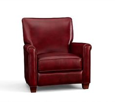 With a gentle push this armchair reclines to create the perfect spot for reading, napping or watching the game. Styled like a classic club chair, it has a compact shape that's ideal for smaller spaces. Leather Recliner, Leather Sofa, Project Red, Den Ideas, Simply Red, Club Chairs, Side Chairs, Seat Cushions, Pottery Barn
