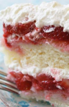 Strawberry Cake - A show-stopping cake made with fresh berries and covered with whipped cream...Wow!!