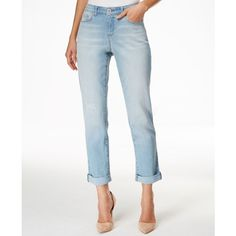 Style & Co. Petite Ripped Port Wash Cuffed-Hem Jeans, ($35) ❤ liked on Polyvore featuring jeans, port, style&co jeans, white destroyed jeans, distressed jeans, white torn jeans and cuff jeans
