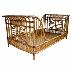1960's Rattan Twin Sleigh Bed/Daybed