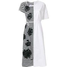 Rundholz Black Label patchwork dress ($265) ❤ liked on Polyvore featuring dresses, white, cotton dress, patchwork dress, white color dress, white dress and white cotton dress