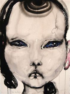 portrait by Sydney-based artist - Del Kathryn Barton. ink and ink washes on paper Australian Painting, Australian Artists, Del Kathryn Barton, Ink Wash, Illustration Art, Illustrations, Whimsical Art, Face Art, Medium Art