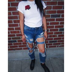 rose embroidered t shirt rose shirt, hand embroidery, women's fashion,... ($25) ❤ liked on Polyvore featuring tops, t-shirts, red cotton shirt, rose print shirt, embroidery tee-shirt, embroidered shirts and blue tee