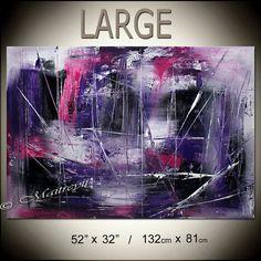 """GRAN pintura púrpura rosado abstracto arte abstracto sobre lienzo, arte grande moderno de Arte Original Art Deco con textura tamaño 52 """"x 32"""""""