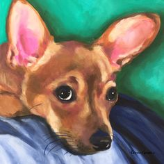 Acrylic on canvas Pop Art painting of a Chihuahua. Colorful Dog Art