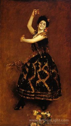 """Carmencita, 1890  William Merritt Chase (American, 1849–1916)    Carmencita, the dancer known as """"The Pearl of Seville,"""" was born Carmen Dauset (or Dausset) in 1868 in Almería, Spain, and became famous in Spain and France during the 1880s."""