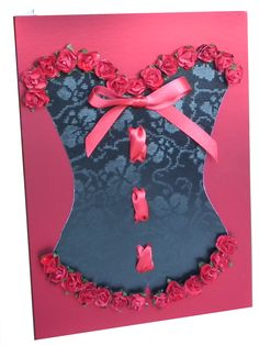 Black Broderie corset with red satin ribbon and red roses on Ruby card www.lilguy.co.uk £6.00