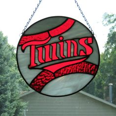 "Minnesota Twins Baseball Suncatcher - Available through Maple River Stained Glass (9"" in diameter)"