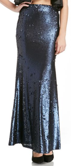 Navy sequin maxi skirt