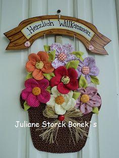 canasta de flores                                 Juliane Storck Bonek's: Enfeite de porta