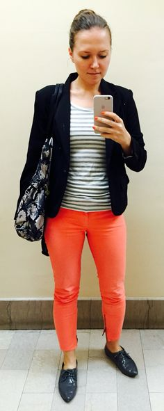 Gap bright ankle zips dressed up for work. Super comfy and fun outfit. Lots of compliments!