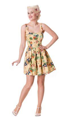 Hell Bunny BECKY Tropical Fruits PARROTS Träger DRESS Kleid - Gelb