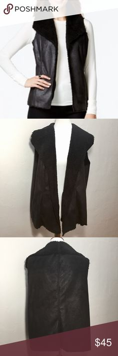 """Style & Co Faux Sherpa Vest Black This vest is in very good condition. The outer shell feels like suede and the faux fur lining is more like fleece. The fleece shoes some wear, but the vest itself looks great.  Approximate measurements: Total length - 26"""" Armpit to armpit - 23 1/2""""  🚫Sorry, no trades or modeling🚫  JB1068 Style & Co Jackets & Coats Vests"""